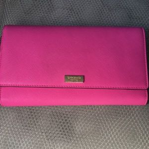 Kate Spade trifold hot pink wallet